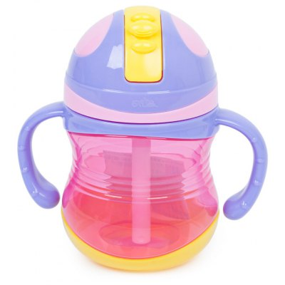 Rikang 300ml Babies Drinking Straw Bottle with Handles