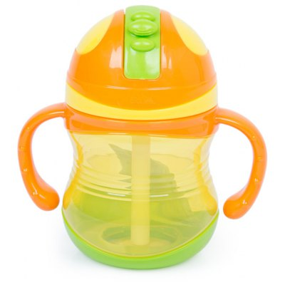 Rikang 300ml Babies Drinking Straw Bottle Sippy Cup with Handles