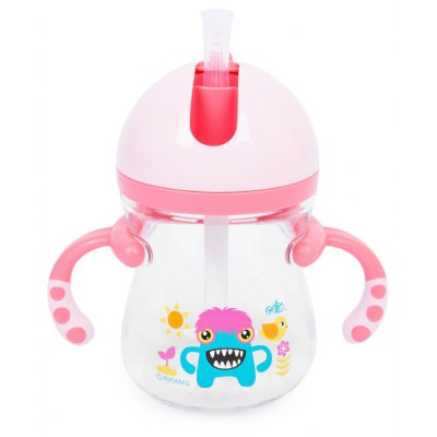 Rikang 400ml Babies Drinking Straw Bottle with Handles