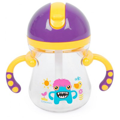 Rikang 400ml Babies Drinking Straw Bottle Sippy Cup with Handles