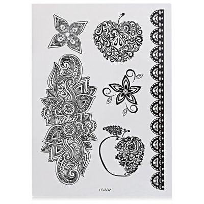Black Tattoo Sticker Temporary Flower Lace Metal Pattern
