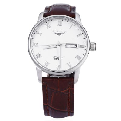 GUANQIN GJ16025 Men Auto Mechanical WatchMens Watches<br>GUANQIN GJ16025 Men Auto Mechanical Watch<br><br>Band Length: 7.9 inch<br>Band Material Type: Leather<br>Band Width: 18 mm<br>Case material: Alloy<br>Case Shape: Round<br>Clasp type: Pin Buckle<br>Dial Diameter: 3.8 inch<br>Dial Display: Analog<br>Dial Window Material Type: Sapphire<br>Feature: Date,Day,Luminous<br>Gender: Men<br>Movement: Automatic Self-Wind<br>Style: Business,Simple<br>Water Resistance Depth: 50m<br>Product weight: 0.070 kg<br>Package weight: 0.091 kg<br>Product Size(L x W x H): 25.50 x 4.20 x 1.20 cm / 10.04 x 1.65 x 0.47 inches<br>Package Size(L x W x H): 26.50 x 5.20 x 2.20 cm / 10.43 x 2.05 x 0.87 inches<br>Package Contents: 1 x GUANQIN GJ16025 Men Auto Mechanical Watch