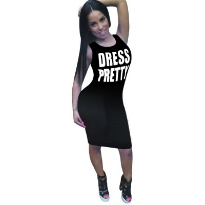 Round Collar Sleeveless Letter Print Wrapped Hip Knee-length Women Bodycon Dress