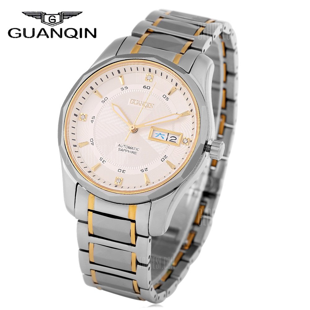 GUANQIN GJ16013 Men Automatic Mechanical Watch STEEL BAND+GOLD DISPLAY+WHITE DIAL
