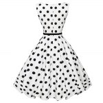 cheap Vintage Polka Dot Print A-line Women Ball Gown Dress