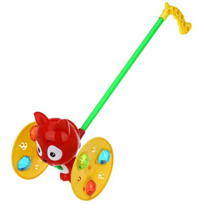 Baby Cartoon Cat Hand-push Wheel Toy