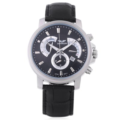 GUANQIN GF506 Male Quartz WatchMens Watches<br>GUANQIN GF506 Male Quartz Watch<br><br>Band Length: 8.46 inch<br>Band Material Type: Genuine Leather<br>Band Width: 20 mm<br>Case material: Stainless Steel<br>Case Shape: Round<br>Clasp type: Butterfly Clasp<br>Dial Diameter: 1.57 inch<br>Dial Display: Analog<br>Dial Window Material Type: Sapphire<br>Feature: Chronograph,Date,Day,Luminous<br>Gender: Men<br>Movement: Quartz<br>Style: Business<br>Water Resistance Depth: 30m<br>Product weight: 0.077 kg<br>Package weight: 0.099 kg<br>Product Size(L x W x H): 26.00 x 4.50 x 1.20 cm / 10.24 x 1.77 x 0.47 inches<br>Package Size(L x W x H): 27.00 x 5.50 x 2.20 cm / 10.63 x 2.17 x 0.87 inches<br>Package Contents: 1 x GUANQIN GF506 Male Quartz Watch