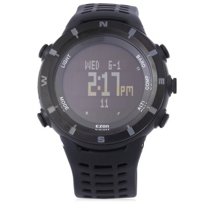 EZON H001 Professional Hiking Series Male Digital WatchSports Watches<br>EZON H001 Professional Hiking Series Male Digital Watch<br><br>Band Length: 9.45 inch<br>Band Material Type: Rubber<br>Band Width: 22 mm<br>Case material: Stainless Steel<br>Case Shape: Round<br>Clasp type: Pin Buckle<br>Dial Diameter: 1.77 inch<br>Dial Display: Digital<br>Dial Window Material Type: Hardlex<br>Feature: Alarm,Altimeter,Back Light,Chronograph,Compass,Luminous<br>Gender: Men<br>Movement: Digital<br>Style: Sport<br>Water Resistance Depth: 50m<br>Product weight: 0.080 kg<br>Package weight: 0.305 kg<br>Product Size(L x W x H): 25.50 x 5.50 x 1.50 cm / 10.04 x 2.17 x 0.59 inches<br>Package Size(L x W x H): 9.00 x 16.50 x 8.50 cm / 3.54 x 6.5 x 3.35 inches<br>Package Contents: 1 x EZON H001 Professional Hiking Series Male Digital Watch, 1 x Bilingual Manual in English and Chinese
