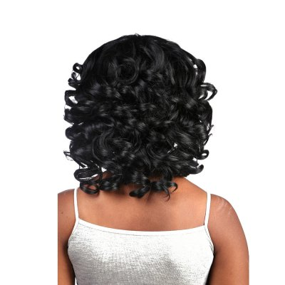 Long Waves Hair Average Length Curly Synthetic Black Afro Wig