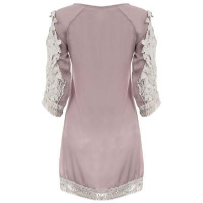 Stylish Round Collar Flare Sleeve Lace Spliced Color Block Fringed Women Dress