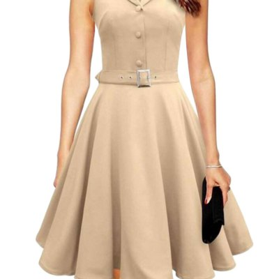 Shawl Collar Sleeveless Single-breasted Women Ball Gown Dress with Belt
