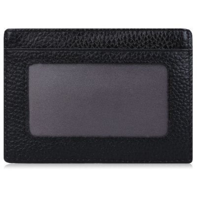 Lichee Pattern Solid Color Open Leather Horizontal Magnet Card Wallet