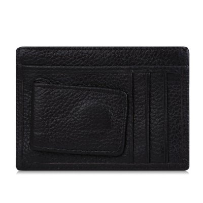 Lichee Pattern Open Leather Horizontal Magnet Card Wallet