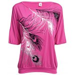Casual Scoop Collar Half Sleeve Printed Cut Out Cotton Blend Women T-Shirt