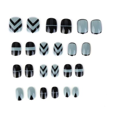 Green + Black Small Short Manicure Patch Nail Sticker