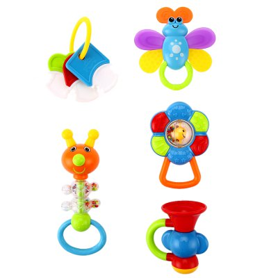 5pcs Baby Hand Shake Bell Ring Rattles Toy SetOther Educational Toys<br>5pcs Baby Hand Shake Bell Ring Rattles Toy Set<br><br>Age Range: &gt; 1 year old<br>Gender: Unisex<br>Material: Plastic<br>Shape: Cartoon<br>Product weight: 0.339 kg<br>Package weight: 0.379 kg<br>Package Size(L x W x H): 14.00 x 14.00 x 30.00 cm / 5.51 x 5.51 x 11.81 inches<br>Package Contents: 1 x Bell Ring Toy Set