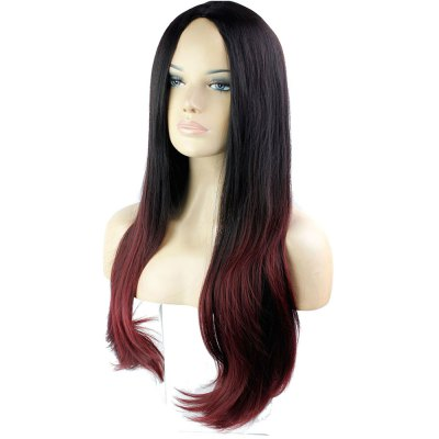 Slightly Curled Long Hair Wigs Gradient Color Black + Wine Red