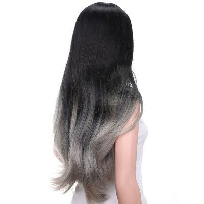 Slightly Curled Long Hair Wigs Gradient Color Black + Grey