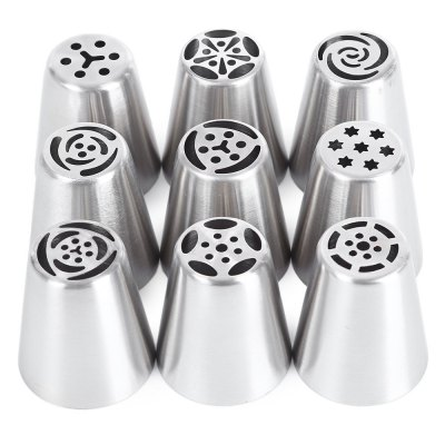 9pcs Durable Nozzles Pastry Tube Tip Piping
