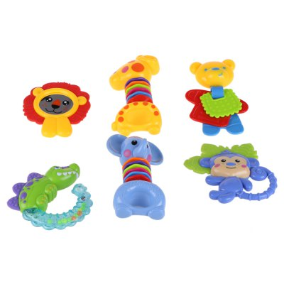 Baby 6pcs Teethers Rattles Toy SetOther Educational Toys<br>Baby 6pcs Teethers Rattles Toy Set<br><br>Age Range: &gt; 3 Months<br>Gender: Unisex<br>Material: Plastic<br>Shape: Cartoon<br>Product weight: 0.350 kg<br>Package weight: 0.601 kg<br>Package Size(L x W x H): 38.00 x 35.00 x 6.50 cm / 14.96 x 13.78 x 2.56 inches<br>Package Contents: 6 x Teether Toy