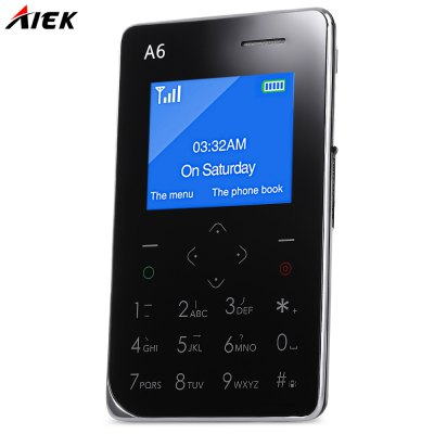 AIEK A6 Quad Band Card Phone 1.77 inchFeatured Phones<br>AIEK A6 Quad Band Card Phone 1.77 inch<br><br>Camera type: No camera<br>Product weight: 0.054 kg<br>Package weight: 0.241 kg<br>Product Size(L x W x H): 8.80 x 5.40 x 0.68 cm / 3.46 x 2.13 x 0.27 inches<br>Package Size(L x W x H): 13.00 x 9.50 x 2.00 cm / 5.12 x 3.74 x 0.79 inches
