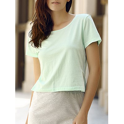 Round Collar Short Sleeeve Cotton Blend Pure Color Women T-Shirt