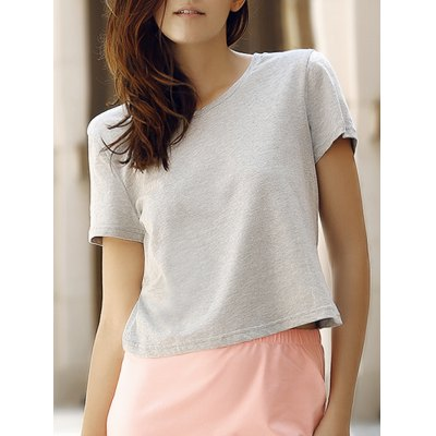 Simple Style Round Collar Short Sleeeve Cotton Blend Pure Color Women T-Shirt