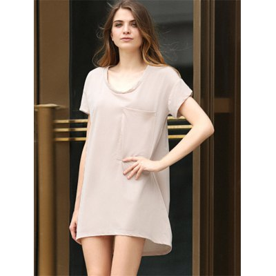 Casual Scoop Collar Short Sleeve Front Pocket Asymmetrical Solid Color Women T-Shirt Dress
