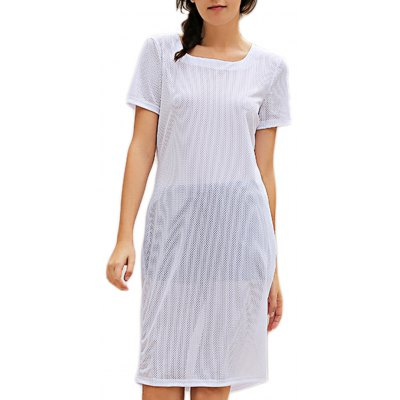 Casual Round Collar Short Sleeve Solid Color Hollow Out See-Through Women Dress