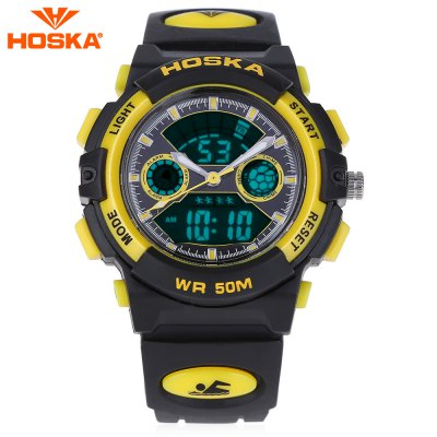 HOSKA HD006S Dual Movt LED Children Sport Watch