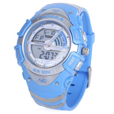 HOSKA HD011B Dual Movt LED Children Sport WatchKids Watches<br>HOSKA HD011B Dual Movt LED Children Sport Watch<br><br>Band Length: 8 inch<br>Band Material Type: Silicone<br>Band Width: 20mm<br>Case material: Plastic<br>Case Shape: Round<br>Clasp type: Pin Clasp<br>Dial Diameter: 1.23 inch<br>Dial Display: Analog-Digital<br>Dial Window Material Type: Plastic<br>Feature: Alarm,Auto Date,Back Light,Chronograph,Day,Led Display,Luminous<br>Gender: Children<br>Movement: Digital,Quartz<br>Style: Sport<br>Water Resistance Depth: 50m<br>Product weight: 0.050 kg<br>Package weight: 0.072 kg<br>Product Size(L x W x H): 24.20 x 4.50 x 1.50 cm / 9.53 x 1.77 x 0.59 inches<br>Package Size(L x W x H): 25.20 x 5.50 x 2.50 cm / 9.92 x 2.17 x 0.98 inches<br>Package Contents: 1 x HOSKA HD011B Sport Watch