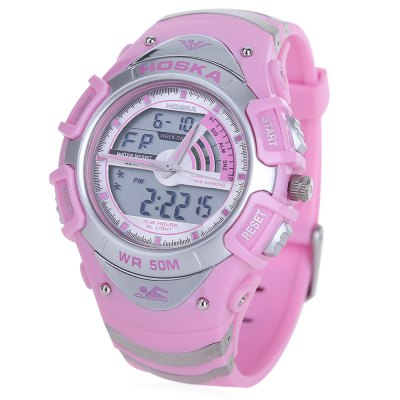 HOSKA HD011B Dual Movt LED Children Sport WatchHOSKA HD011B Dual Movt LED Children Sport Watch<br><br>Band Length: 8 inch<br>Band Material Type: Silicone<br>Band Width: 20mm<br>Case material: Plastic<br>Case Shape: Round<br>Clasp type: Pin Clasp<br>Dial Diameter: 1.23 inch<br>Dial Display: Analog-Digital<br>Dial Window Material Type: Plastic<br>Feature: Alarm,Auto Date,Back Light,Chronograph,Day,Led Display,Luminous<br>Gender: Children<br>Movement: Digital,Quartz<br>Style: Sport<br>Water Resistance Depth: 50m<br>Product weight: 0.050 kg<br>Package weight: 0.072 kg<br>Product Size(L x W x H): 24.20 x 4.50 x 1.50 cm / 9.53 x 1.77 x 0.59 inches<br>Package Size(L x W x H): 25.20 x 5.50 x 2.50 cm / 9.92 x 2.17 x 0.98 inches<br>Package Contents: 1 x HOSKA HD011B Sport Watch