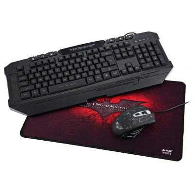 Ajazz Dark Knight Mechanical Hand-feel Gaming Keyboard and Professional 2400DPI Mouse Set