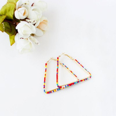 Bohemia Triangle Bead Hollow Hoop EarringsEarrings<br>Bohemia Triangle Bead Hollow Hoop Earrings<br><br>Earring Type: Hoop Earrings<br>Gender: For Women<br>Back Finding: Push-back<br>Metal Type: Zinc Alloy<br>Style: Bohemia<br>Shape/Pattern: Geometric<br>Occasion: Party<br>Size (CM): ( L x H ) 5 x 5 cm / 1.97 x 1.97 inch<br>Product weight: 0.015 kg<br>Package weight: 0.026 kg<br>Package size (L x W x H): 5.50 x 5.50 x 1.20 cm / 2.17 x 2.17 x 0.47 inches<br>Package Contents: 1 x Pair of Lady Hoop Earrings