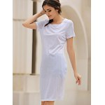 cheap Casual Round Collar Short Sleeve Solid Color Hollow Out See-Through Women Dress