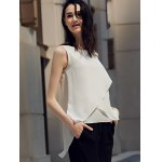 cheap Chic Round Collar Pure Color Chiffon Women Wrap Tank Top