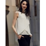 Chic Round Collar Pure Color Chiffon Women Wrap Tank Top deal