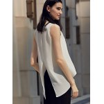 best Chic Round Collar Pure Color Chiffon Women Wrap Tank Top
