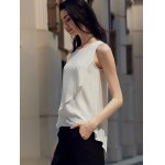 Chic Round Collar Pure Color Chiffon Women Wrap Tank Top for sale