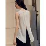 Chic Round Collar Pure Color Chiffon Women Wrap Tank Top photo