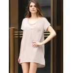 cheap Casual Scoop Collar Short Sleeve Front Pocket Asymmetrical Solid Color Women T-Shirt Dress