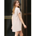 Casual Scoop Collar Short Sleeve Front Pocket Asymmetrical Solid Color Women T-Shirt Dress for sale