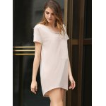Casual Scoop Collar Short Sleeve Front Pocket Asymmetrical Solid Color Women T-Shirt Dress deal