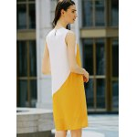 Casual Round Collar Sleeveless Color Block Straight Women Dress for sale