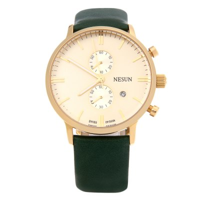 Nesun N8601 Male Quartz WatchMens Watches<br>Nesun N8601 Male Quartz Watch<br><br>Band Length: 8.75 inch<br>Band Material Type: Genuine Leather<br>Band Width: 20mm<br>Case material: Stainless Steel<br>Case Shape: Round<br>Clasp type: Pin Clasp<br>Dial Diameter: 1.57 inch<br>Dial Display: Analog<br>Dial Window Material Type: Hardlex<br>Gender: Men<br>Movement: Quartz<br>Style: Business,Luxury<br>Water Resistance Depth: 100m<br>Product weight: 0.071 kg<br>Package weight: 0.280 kg<br>Product Size(L x W x H): 26.00 x 4.50 x 1.00 cm / 10.24 x 1.77 x 0.39 inches<br>Package Size(L x W x H): 10.50 x 10.10 x 7.30 cm / 4.13 x 3.98 x 2.87 inches<br>Package Contents: 1 x Nesun N8601 Quartz Watch, 1 x Silver Polishing Cloth