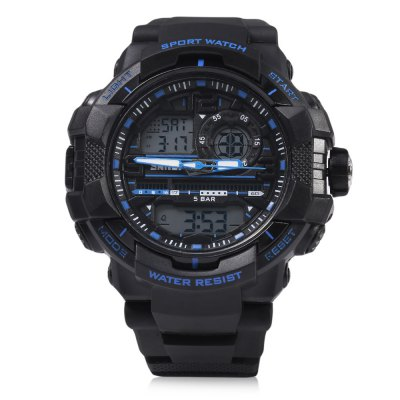 SKMEI 1164 Dual Movt Quartz WatchSports Watches<br>SKMEI 1164 Dual Movt Quartz Watch<br><br>Band Length: 8.95 inch<br>Band Material Type: Silicone<br>Band Width: 22 mm<br>Case material: Plastic<br>Case Shape: Round<br>Clasp type: Pin Buckle<br>Dial Diameter: 2 inch<br>Dial Display: Analog-Digital<br>Dial Window Material Type: Resin<br>Feature: Multiple Time Zone, Luminous, Led Display, Day, Date, Chronograph, Back Light, Auto Date, Alarm<br>Gender: Men<br>Movement: Digital,Quartz<br>Package Contents: 1 x SKMEI 1164 Dual Movt Quartz Watch<br>Package Size(L x W x H): 24.00 x 3.50 x 2.20 cm / 9.45 x 1.38 x 0.87 inches<br>Package weight: 0.0890 kg<br>Product Size(L x W x H): 23.00 x 2.50 x 1.20 cm / 9.06 x 0.98 x 0.47 inches<br>Product weight: 0.0680 kg<br>Style: Sport<br>Water Resistance Depth: 50m