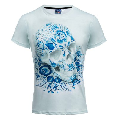 Blue and white 3d printed round neck short sleeve t shirt for T shirt printing and distribution