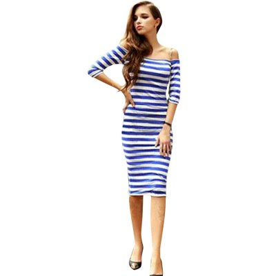 Off The Shoulder Short Sleeve Striped Women Bodycon Dress