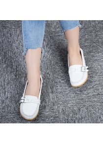 Skid Resistance Leather Breathable Ladies Casual Flat Shoes