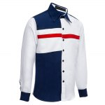 Patchwork Color Blocking Turn-back Collar Casual Shirt deal